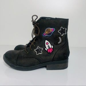Steve Madden Brown Combat Boots Patches Space Star